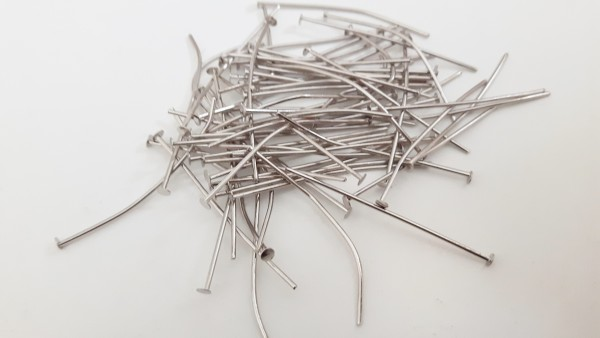 100 grams of Nickel pins 40mm x 0.8mm (approx 430 pins)