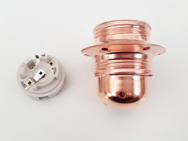 ES E27 bulb lamp holder 3 part plus shade rings in COPPER plate edison screw