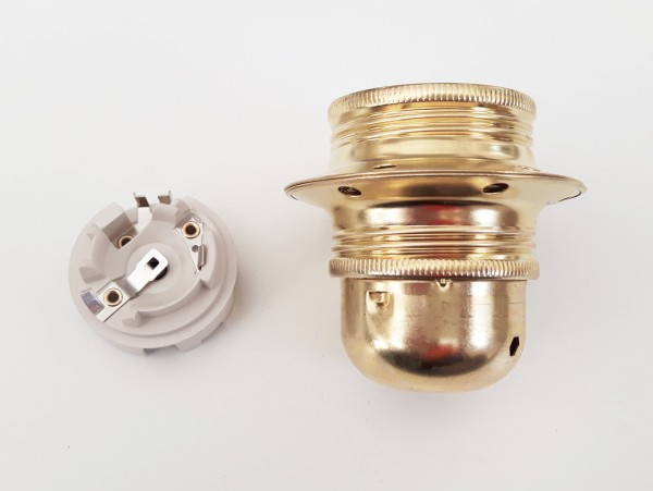ES E27 bulb lamp holder 3 part plus shade ring in Brass