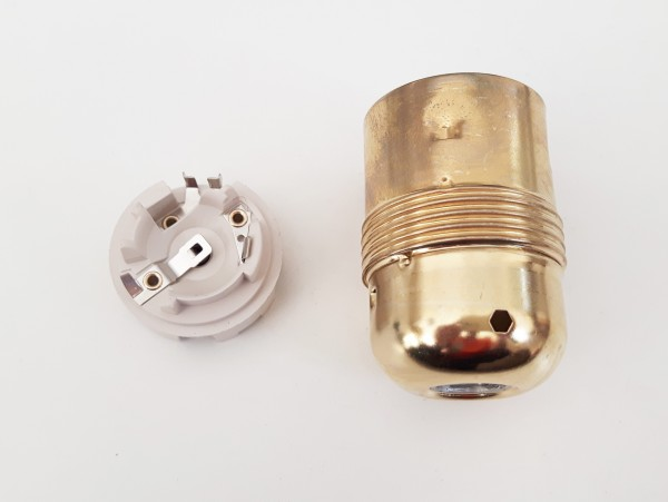 ES E27 bulb-lamp holder 3 part plain skirt brass