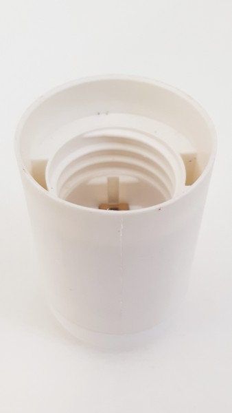 E27 2 PART WHITE PLASTIC LAMP HOLDER PLAIN SKIRT