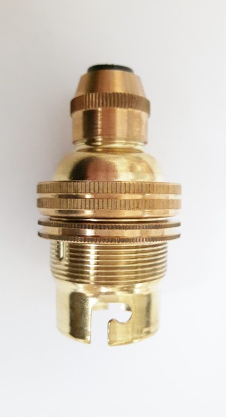 Brass bayonet cap bulb  lamp holder with fixed metal cord grip B22