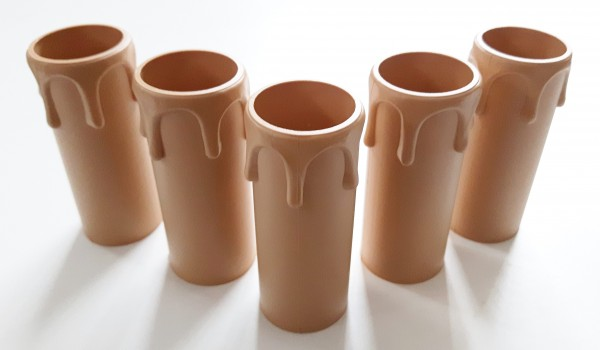 Candle Tube 65mm  x 24mm Drip Plastic Warm Caramel