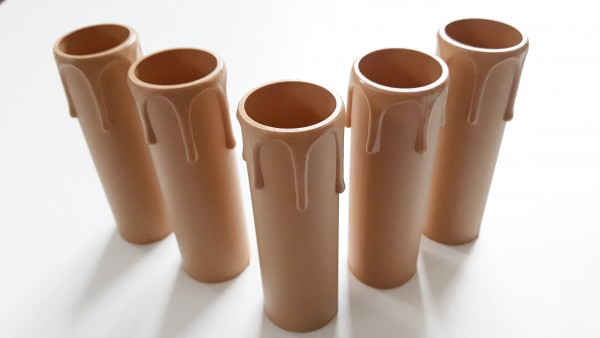 drip plastic candle tubes in brown 90mm height x 27mm internal diameter.