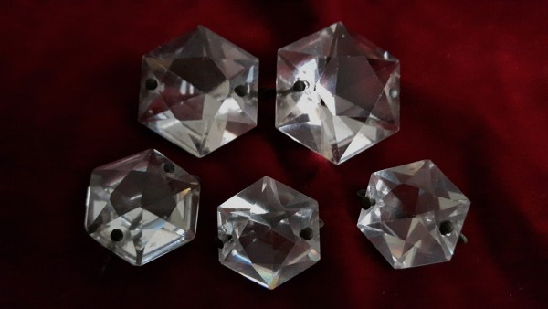 Antique crystal polygon Flat Back Button early 19th century