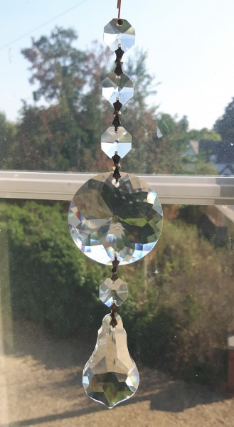 Crystal Suncatcher Hanging Crystal roundal, pear drop and 4 Swarovski Octagons