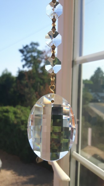 Crystal Suncatcher Hanging Crystal Oval With 4 Swarovski Octagons Feng Shui