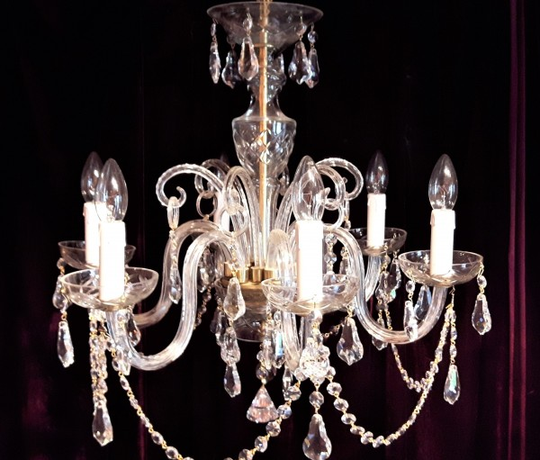 1950s crystal and cut glass Bohemian Chandelier