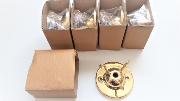 Pack of 5 Chandelier 3 hook ceiling plates in polished brass