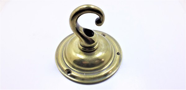 Mid Victorian Heavy Solid Brass Ceiling Plate Hook