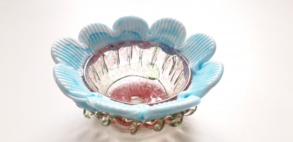 Vintage Murano Chandelier glass bobeche in pink and blue
