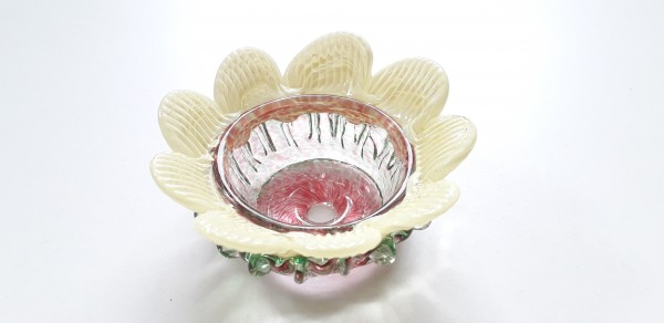Vintage Murano Chandelier glass bobeche in pink and yellow