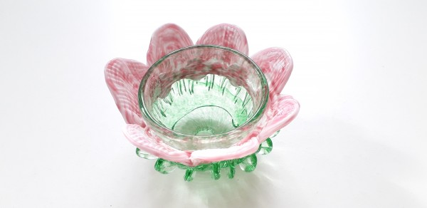 Vintage Murano Chandelier glass bobeche in green and pink