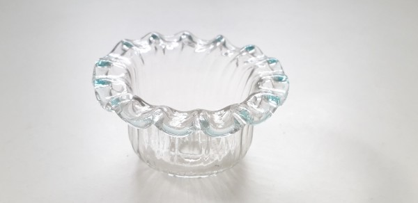 Murano Chandelier glass candle cup with faint blue rim