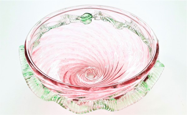 Pink and Green Murano Chandelier Bottom Bowl