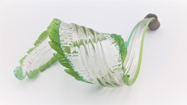 Green Murano Chandelier curled Leaf arm
