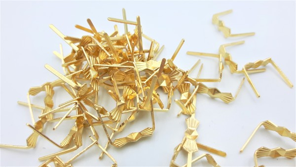100 brass bow clips 11mm