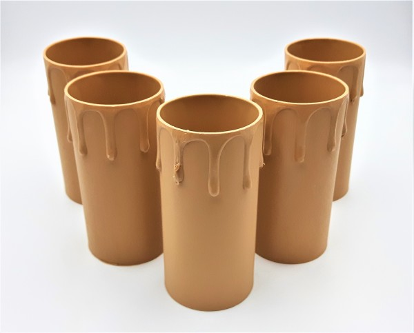 candle tubes Brown plastic drip effect  85mm height x 39mm internal diameter