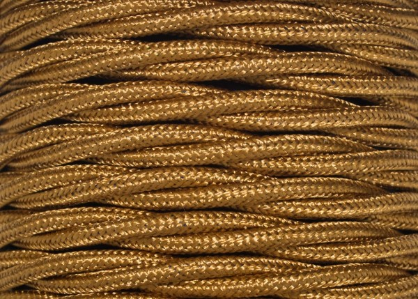 Braided Twisted 2 Core Wire Antique Gold 0.75 mm