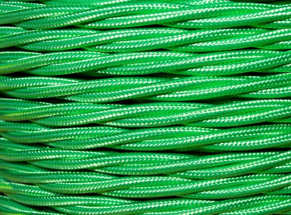 100 metres of apple green Braided 3 core silk flex lighting cable 0.75mm