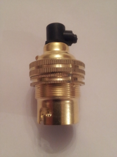 brass lamp holder plus black cordgrip BC - B22 threaded skirt earthed 10mm thread