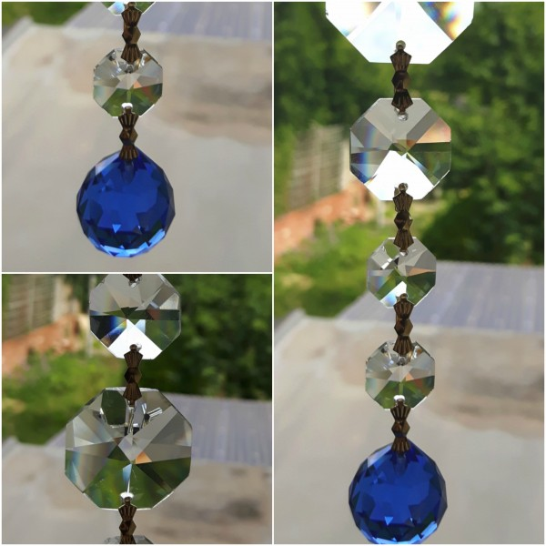Crystal Sun catcher Hanging BLUE Crystal Ball With 8 Swarovski Octagons