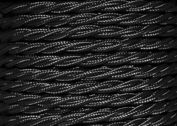 Black braided 3 core electrical cable 0.75mm Pack of SHORT lengths