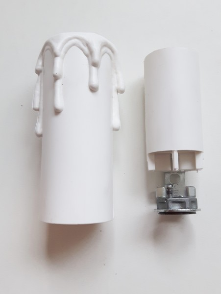 Candle Tube Sleeve by Relco White Drip Plastic And Lampholder E14 ...