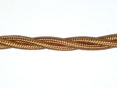 Braided 3 core silk flex lighting cable antique gold 0.75mm