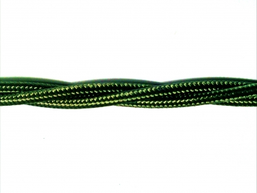 Fabric Braided flex 3 core electric cable in khaki 0.75mm