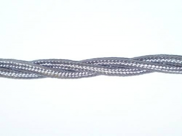 Braided silk flex silk woven electric cable in silver 0.75mm
