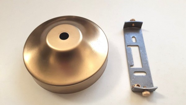 Ceiling Rose and Strap Bracket 100mm dia. Raw Unpolished brass 2 Screw Fixing