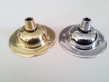 Brass or chrome ceiling dome plate with cord grip, earth tag and nut