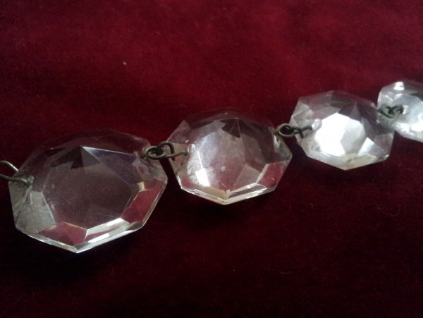 elongated octagan flat back glass chandelier button, Two pin hole one at each end