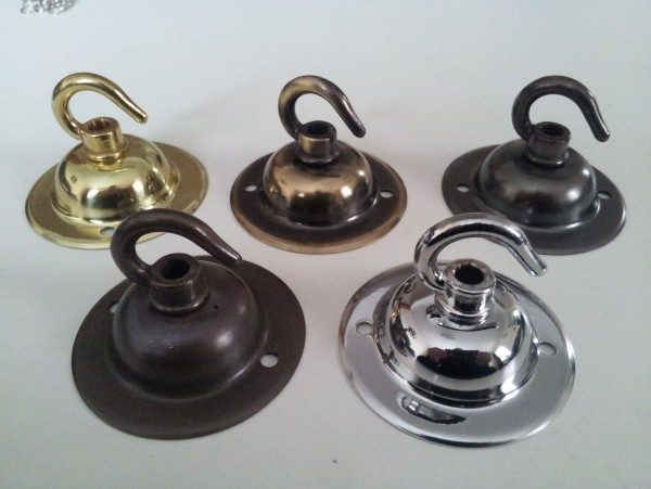 Solid Brass Ceiling Rose Hook Plate Hanging Suspension Fixing 5 Finishes