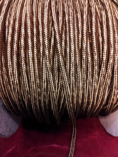 ROUND OVERBRAID 3CORE SILK FLEX OLD GOLD - BLACK 0.75MM