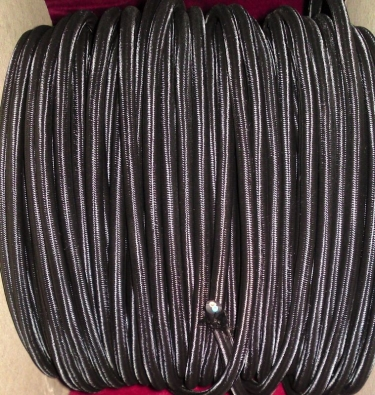 2 CORE ROUND PVC OVERBRAID BLACK SILK FLEX PERIOD ELECTRIC CABLE 0.50MM