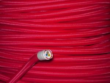 3 CORE ROUND PVC OVERBRAID RED ELECTRIC CABLE 0.50MM