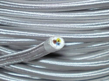 3 CORE ROUND PVC OVERBRAID SILVER ELECTRIC CABLE 0.50MM
