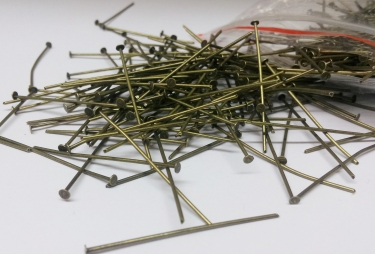 CHANDELIER PINS 25mm  IN OLD ANTIQUE BRASS pack of 100