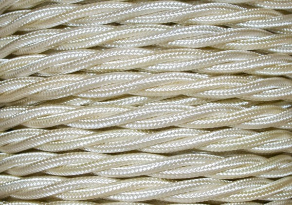 Cream electrical cable braided and twisted 3 core Pack of SHORT Lengths