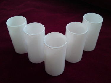 GLASS CANDLE TUBE SLEEVE COVER IN WHITE 65MM X 29MM