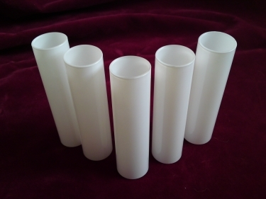 Glass candle tube in white, 120 mm high x 29 mm internal width