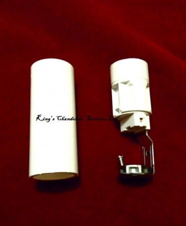 Chandelier Candle Tube sleeve 65mm x 24mm White Plastic and Lampholder E14 SES To Fit