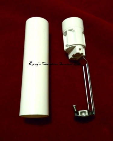 Chandelier Candle Tube sleeve 85mm x 24mm White Plastic and Lampholder E14 SES To Fit
