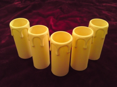 cream plastic drip candle tubes 70mm height x 27mm internal diameter