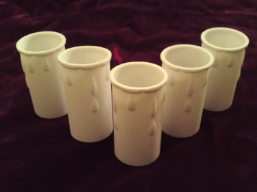 white plastic drip candle tubes 60mm height x 37mm internal diameter