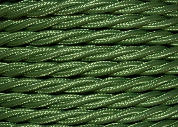 100 metres of olive green Braided 3 core silk flex lighting cable 0.75mm