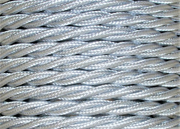 Silver Electrical Cable Braided And Twisted 3 Core 0.75mm Pack SHORT Lengths