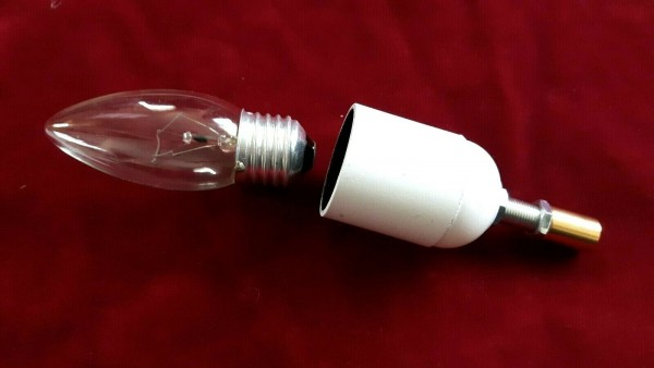 E27 3 part white lamp holder and candle tube white drip card to fit 95mm x 39mm